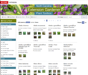 Screen shot plant database - Find a Plant