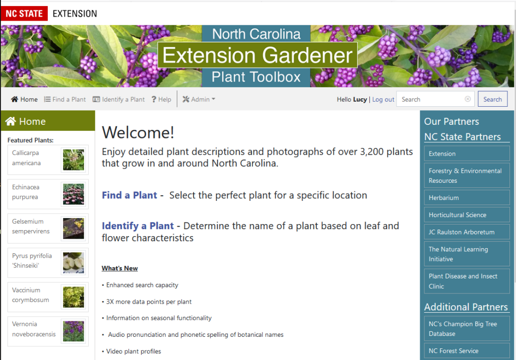 Plant Database - Home Page screen shot
