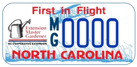 Vanity License plate for NC Extension Master Gardener