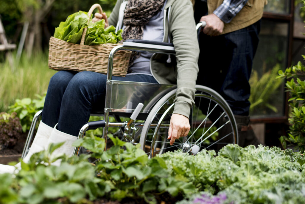 woman in wheelchair in the garden